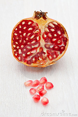 Pomegranate cut in half