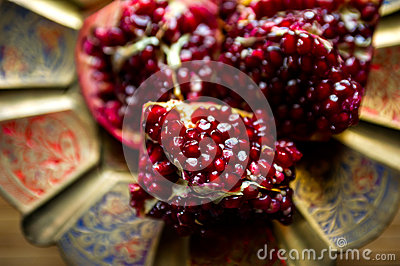 Pomegranate on dish