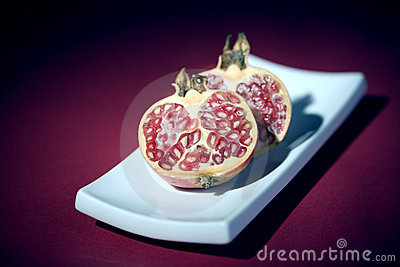 Pomegranate half cut