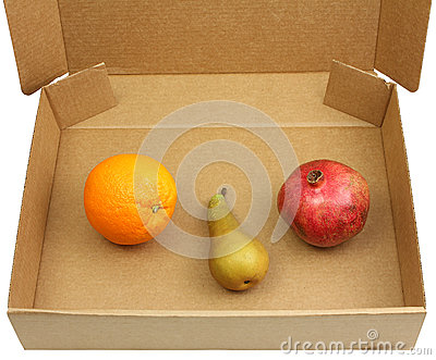 Pomegranate, pear and orange in a box
