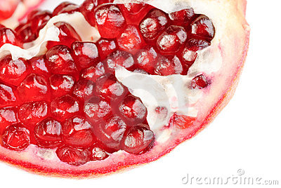 Pomegranate  sliced  isolation on  white