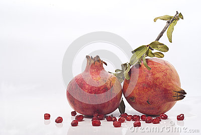 Pomegranates with leaves