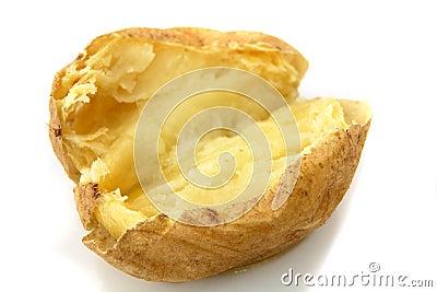 pomme de terre en robe de chambre cuite au four avec du beurre sur le blanc images libres de. Black Bedroom Furniture Sets. Home Design Ideas