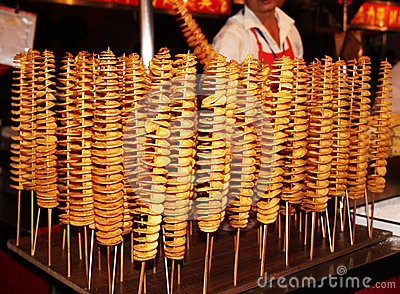 pomme de terre en spirale frite la chine photo stock image 62366290. Black Bedroom Furniture Sets. Home Design Ideas