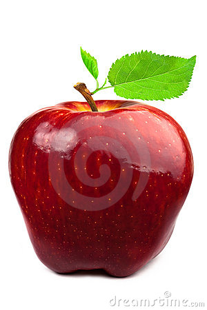 Pomme rouge foncé avec des lames