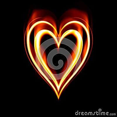 Płonąca pożarowej namiętności serca