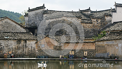Pond with ancient buildings reflection in Hong Cun, Anhui, China