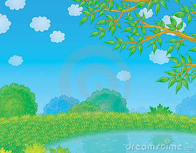 Pond in countryside