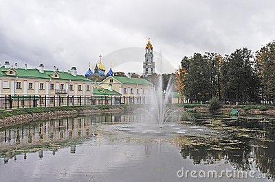 Pond with fountain in Sergiev Posad, Russia