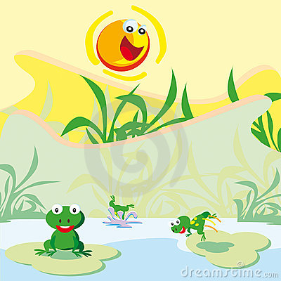 Pond With Frogs Royalty Free Stock Image - Image: 14443786