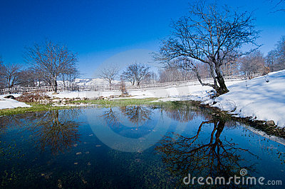 Pond surrounded by snow
