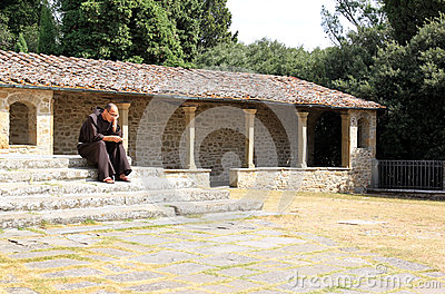 Pondering monk of Convento di San Francesco, Italy Editorial Stock Photo