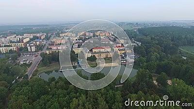 Poniatowa, kleine stad, luchtmening stock videobeelden
