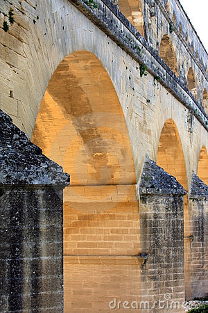 Pont du Gard, a Roman aqueduct, France (close)