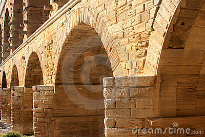 Pont du Gard, a Roman aqueduct, France (close-up)