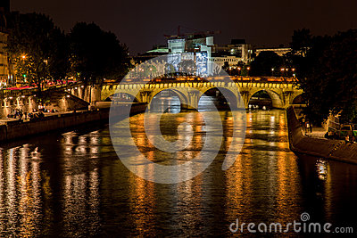 Pont Neuf at Night Paris France Editorial Image