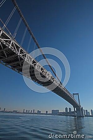 A ponte através da baía do Tóquio