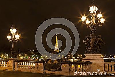 A ponte de Alexander III. Fotografia Editorial