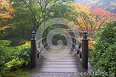 Ponte De Madeira No Jardim Japonês Na Queda Imagem de Stock Royalty Free - Imagem: 16846926
