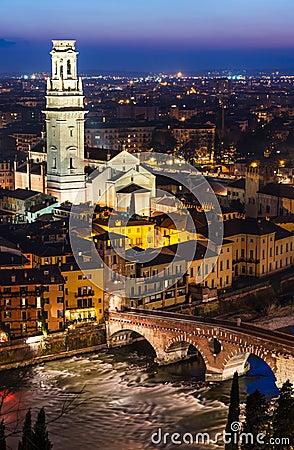 Ponte Pietra and Duomo of Verona in night, Italy