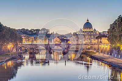 Ponte Sant Angelo (Bridge of Hadrian) in Rome, Italy,