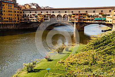 Ponte Vecchio Bridge Across Arno River