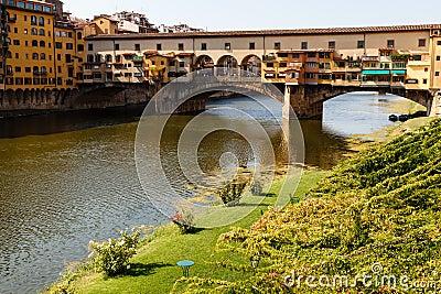 Ponte Vecchio Bridge Across Arno River