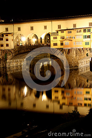 Ponte Vecchio bridge in Florence at night Editorial Stock Image