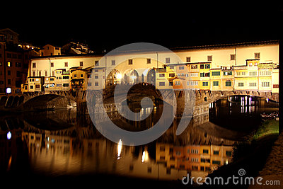 Ponte Vecchio bridge in Florence at night