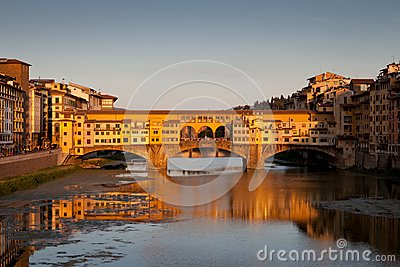 Ponte Vecchio at sunset, Florence, Italy