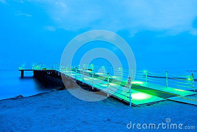 Pontoon In The Night Royalty Free Stock Photography - Image: 14491507