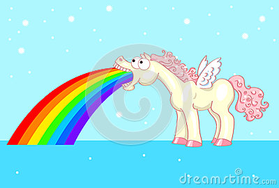 Pony with wings and a rainbow