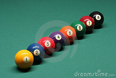 Pool balls from number 01 to 08