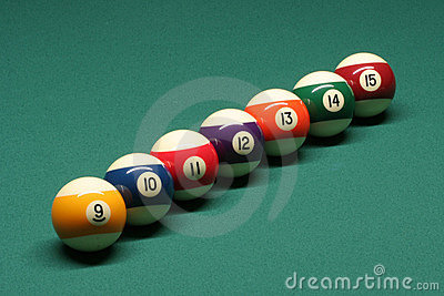 Pool balls from number 09 to 15