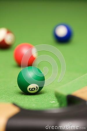 Pool balls on a pool table