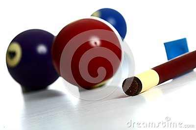 Pool Balls and stick with chalk