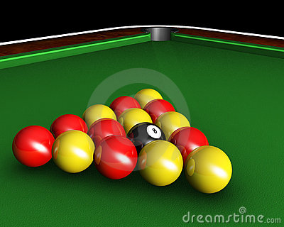 Pool balls on table