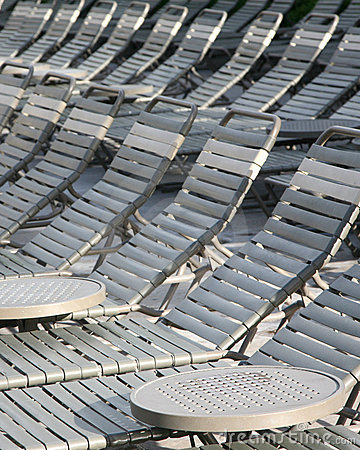 Pool chairs in a line