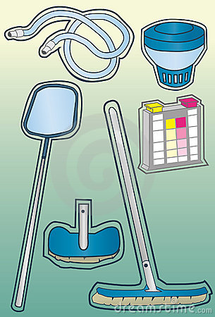 Pool cleaning supply Icons