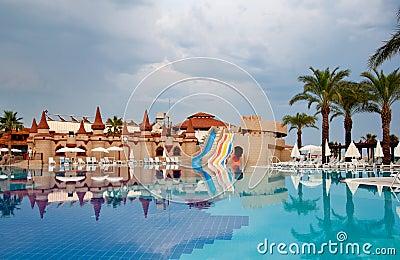 Pool on cloudy day, Turkey