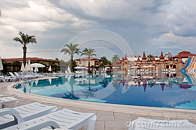 Pool on cloudy day, Turkey