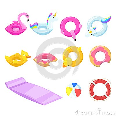 Free Pool Cute Kids Inflatable Floats, Vector Isolated Design Elements. Unicorn, Flamingo, Duck, Ball, Donut Icons. Stock Image - 115456141