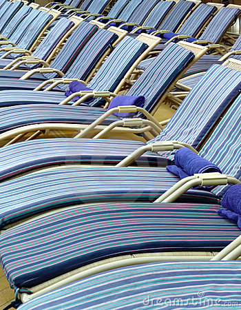 Pool deck chairs on a cruise ship