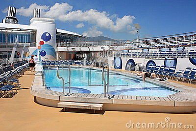 Pool deck onboard Oasis Of the Seas Editorial Stock Image