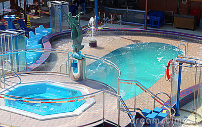Pool and hot tub on cruise ship