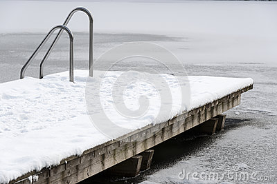 Pool ladder on a frozen lake