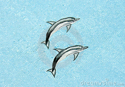 Pool Mosaic Dolphins
