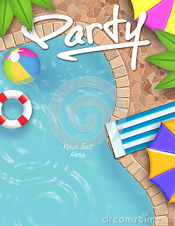 Free Pool Party Invitation Royalty Free Stock Photos - 62332528