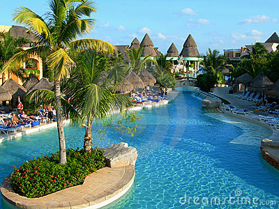Pool and resort in Cancun Mexico