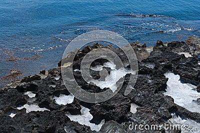 Pockets of sea salt in black rocks.